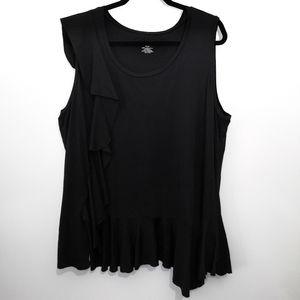 Lane Bryant Black Knit Ruffled Plus Size Tank Top
